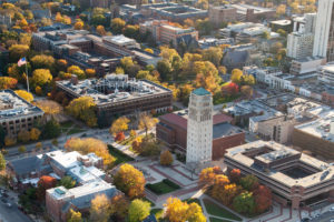 University of Michigan central campus aerial